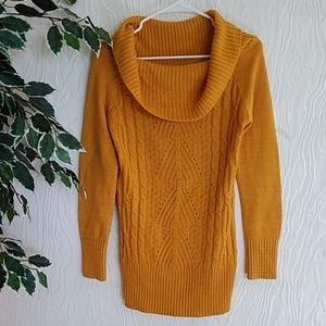 Mustard knit cowl neck sweater